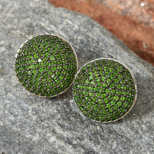 Russian Diopside (Rnd) Cluster Stud Earrings (With Push Back) in Platinum and Black Overlay Sterling Silver 4.000 Ct, Silver wt 7.65 Gms, No. Of Gemstone 250.
