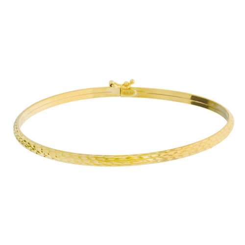 Vicenza Collection- Designer Inspired 9K Yellow Gold Diamond Cut Bangle (Size 7)