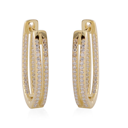 ELANZA  Simulated Diamond (Rnd) Hoop Earrings (with Clasp Back) in Yellow Gold Overlay Sterling Silver.