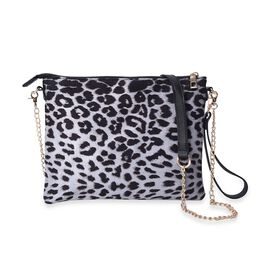 Leopard Pattern Crossbody Bag with Detachable Shoulder Strap (Size 26x20 Cm) - Grey