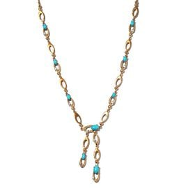 Designer Inspired- Arizona Sleeping Beauty Turquoise and Natural Zircon Necklace (Size 18) in Gold O