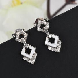 Moissanite Earrings (with Push Back) in Platinum Overlay Sterling Silver 2.180 Ct.