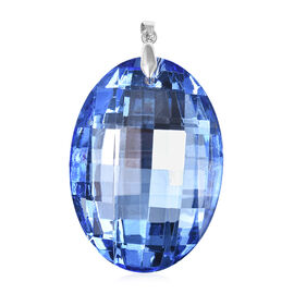 Simulated Blue Spinel (Ovl) Pendant  in Rhodium Overlay Sterling Silver