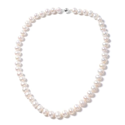 Designer Inspired- Freshwater Double Lusture- White Pearl Necklace (Size 20) in Rhodium Overlay Ster