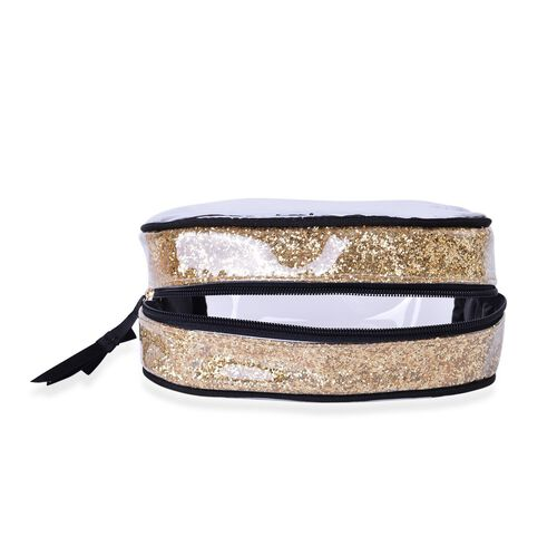 Set of 3 - Golden Colour PVC Cosmetic Bag Large (18x16x8 Cm), Medium (Size 16x12x4 Cm) and Small (Size 13x10x4 Cm)