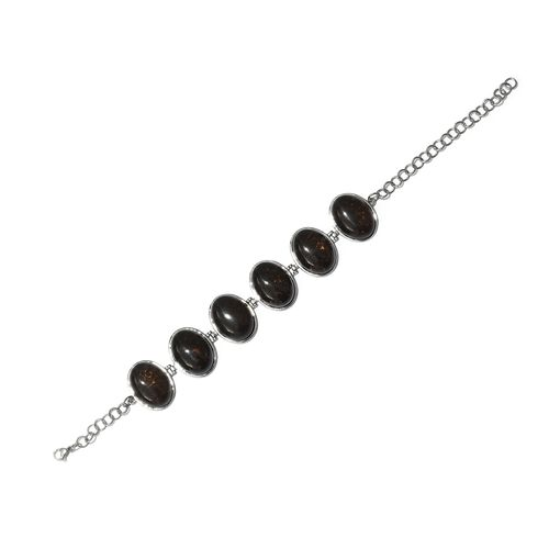 One Time Deal-Brazilian Smoky Quartz (Ovl 20x15 mm) Bracelet (Size 7.5 with 2 inch Extender) in Hypoallergenic Stainless Steel 113.250 Ct.