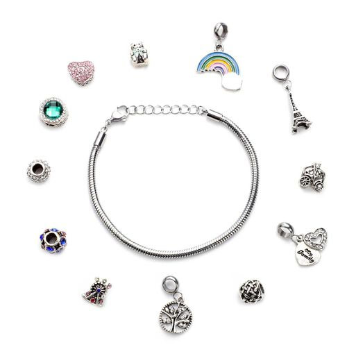 Super Find- 13 Piece Set -  Austrian multi Colour Crystal Pendants (4pcs), Charms (8pcs) and Bracele
