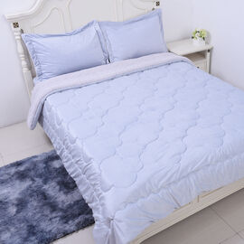 Serenity Night - 4 Piece Sherpa Comforter Set Light Blue Comforter (220x225cm), Fitted Sheet (140x19