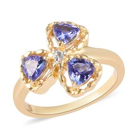 GP Tanzanite and Zircon and Blue Sapphire Shamrock Three Leaf Clover Ring in Gold Plated Silver