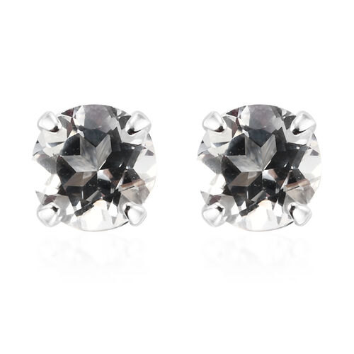 Set of 3 - Silver Sapphire, White Topaz and Amethyst Stud Earrings (with Push Back) in Sterling Silver
