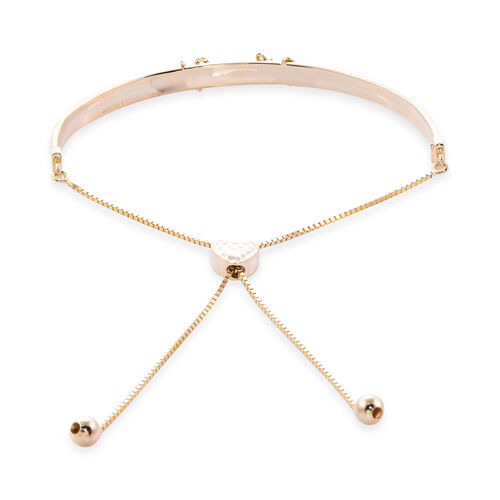 Royal Bali Collection - 9K Yellow Gold Adjustable Bolo I Love You Bracelet (Size 6.5-8.5), Gold wt 3.42 Gms