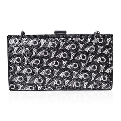 Designer Inspired-Black and White Austrian Crystals Embellished Clutch Bag with Chain Strap in Black Tone (Size 21.5X11.5 Cm)
