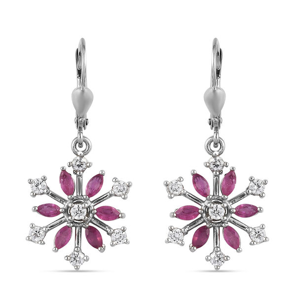 African Ruby (FF) and Natural Cambodian Zircon Snowflake Lever Back Earrings in Platinum Overlay Ste