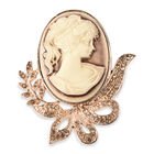 Cameo 38x28mm and Champagne Colour Austrian Crystal Brooch in Gold Tone