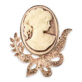 Cameo (Ovl 38x28mm), Champagne Colour Austrian Crystal Brooch in Yellow Gold Tone