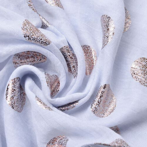Golden Polka Dots Pattern Sky Blue Colour Scarf with Fringes (Size 180X70 Cm)