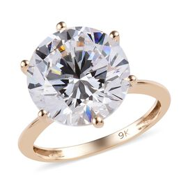 J Francis SWAROVSKI ZIRCONIA Solitaire Ring in 9K Yellow Gold 2.3 Grams