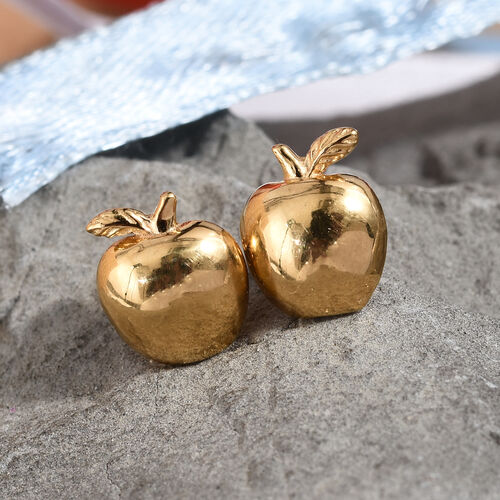 14K Gold Overlay Sterling Silver Apple Earrings (with Push Back)