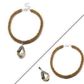 2 Piece Set  - Simulated Champagne Diamond and Golden Bead Necklace (Size 20) with Detachable Pendan