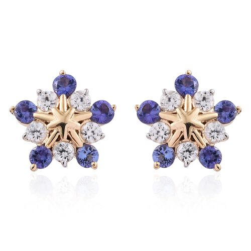 9K Yellow Gold 1.75 Ct AA Tanzanite Snowflake Earrings (with Push Back) with Natural Cambodian Zircon
