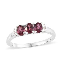 Orissa Rose Garnet (Ovl), Diamond Ring in Sterling Silver 1.500 Ct.