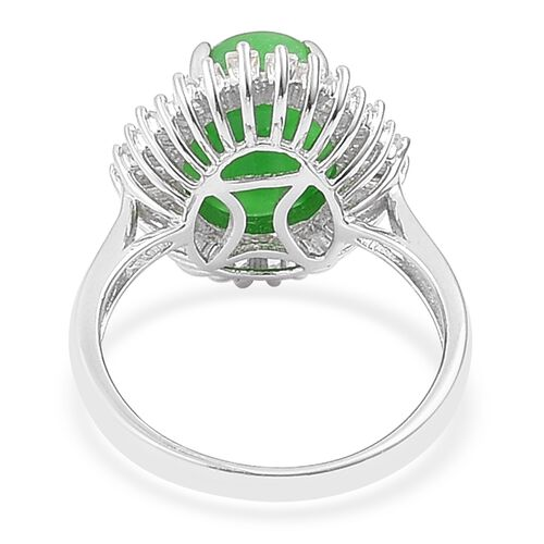 Designer Inspired-Green Jade (Ovl 6.75 Ct), White Topaz BALLERINA Ring in Rhodium Plated Sterling Silver 7.830 Ct. Silver wt. 3.26 Gms.