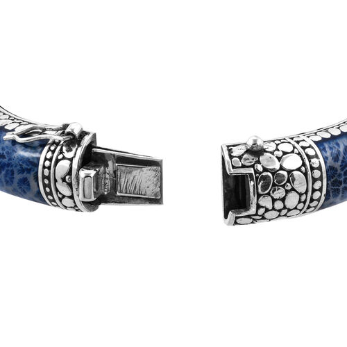 Royal Bali Collection - Blue Coral Bangle (Size 7.5) in Sterling Silver, Silver wt 57.00 Gms