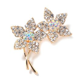 White Austrian Crystal (Rnd), Magic Colour Austrian Crystal Flower Bouquet Brooch in Yellow Gold Tone