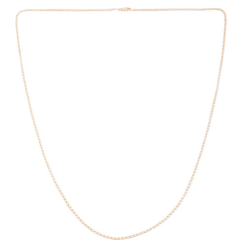 Vicenza Collection 14K Gold Overlay Sterling Silver Diamond Cut Flat Mariner Chain (Size 30), Silver wt. 4.20 Gms.