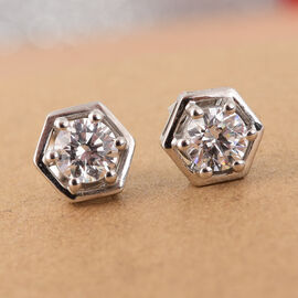 J Francis Platinum Overlay Sterling Silver Stud Earrings (with Push Back) Made with SWAROVSKI ZIRCONIA 0.92 Ct.
