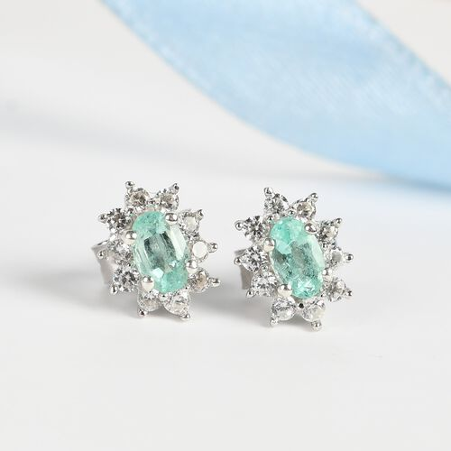 Colombian Emerald and Natural Cambodian Zircon Earrings (with Push Back) in Platinum Overlay Sterling Silver