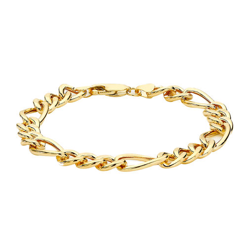 Hatton Garden Close Out 9K Yellow Gold Figaro Bracelet (Size 8) with Lobster Clasp, Gold wt 6.06 Gms