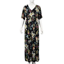Floral Pattern V-neck Summer Dress (Size 60x125 Cm) - Black and Multi