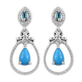2 Ct AAA Sleeping Beauty Turquoise and Multi Gemstones Drop Earrings in Sterling Silver 4.95 Grams
