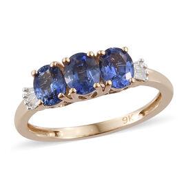 9K Yellow Gold AA Royal Ceylon Sapphire (Ovl), Diamond Ring 1.250 Ct