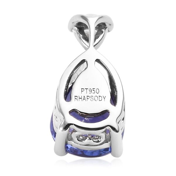 RHAPSODY 950 Platinum AAAA Tanzanite (Pear), Diamond (E-F/VS) Pendant  1.90 Ct.