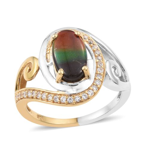AA Canadian Ammolite (Ovl 12x7mm), Natural Cambodian Zircon Ring in Platinum and Yellow Gold Overlay Sterling Silver 2.250 Ct.
