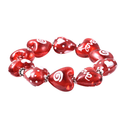 2 Piece Set -  Red Murano Style Glass and Simulated Diamond Enamelled Heart Stretchable Bracelet (Size 7) and Hook Earrings in Silver Tone