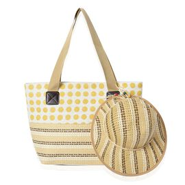 2 Piece Set - Dot Pattern Tote Bag with Zipper Closure (Size 44x30x14 Cm) and Hat with Bowknot (Size