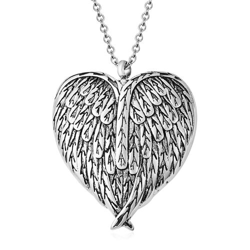 2 Piece Set - Heart Memorial Pendant with Chain (Size 20) and Funnel with Needle in Stainless Steel