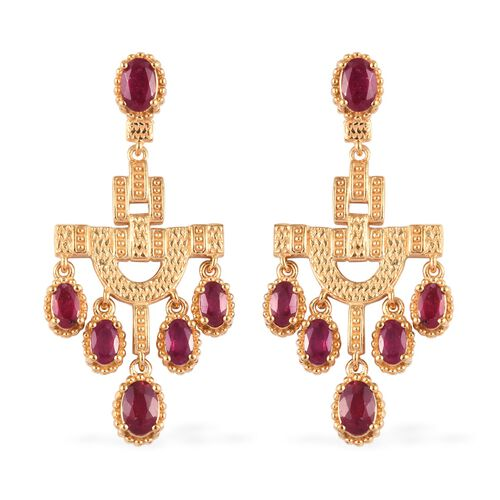 African Ruby Dangle Earrings (with Push Back) in 14K Gold Overlay Sterling Silver 4.50 Ct.