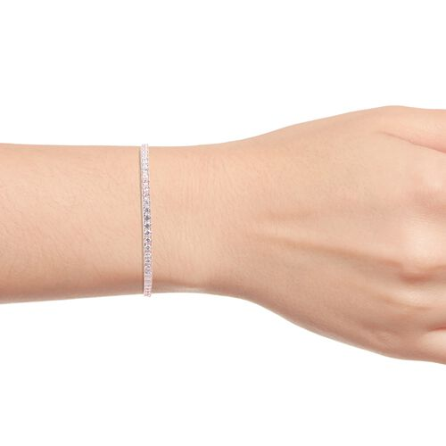 ELANZA AAA Simulated Diamond (Rnd) Bangle (Size 7.5) in Rose Gold Overlay Sterling Silver, Silver wt 12.39 Gms