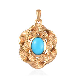 1.25 Ct Arizona Sleeping Beauty Turquoise Floral Pendant in Gold Plated Sterling Silver
