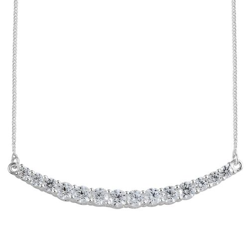J Francis - Sterling Silver (Rnd) Necklace (Size 18) Made with SWAROVSKI ZIRCONIA