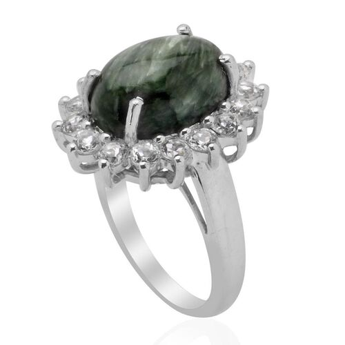 Siberia Platinum: Siberian Seraphinite (Ovl 5.00 Ct) White Topaz Ring In