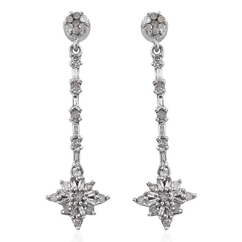 Diamond (Bgt and Rnd) Dangling Earrings (with Push Back) in Platinum Overlay Sterling Silver 0.501 C