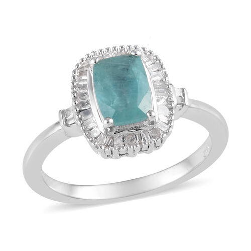 1.03 Ct Grandidierite and Diamond Halo Ring in Platinum Plated Sterling Silver