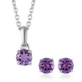 3 Piece Set -  Amethyst Pendant with Chain (Size 18) and Stud Earrings (with Push Back) in Platinum