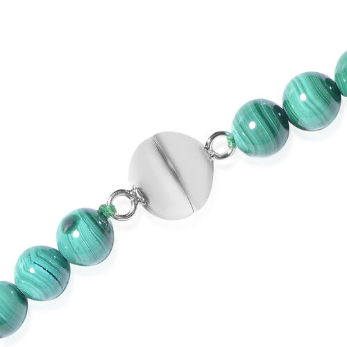 Malachite Graduated Beads Necklace (Size 20) with Magnetic Lock in Rhodium Overlay Sterling Silver 305.5 Ct.