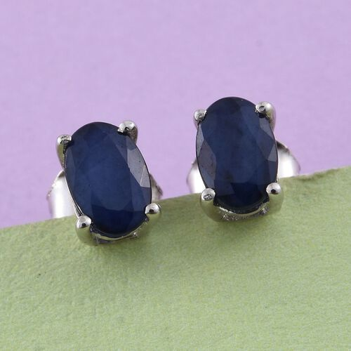 Kanchanaburi Blue Sapphire 1 Carat Silver Solitaire Stud Earrings  in Platinum Overlay (with Push Back)